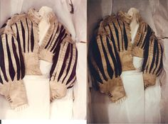White pinked Satin & Brown velvet slashed doublet Mid 1600's - front view