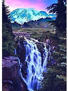 12x16inch SKRYUIE DIY Rhinestone Pasted Paint with Diamond Set Arts Craft Decorations 5D Diamond Painting Forest Waterfall Rainbow View Full Drill by Number Kits for Adults