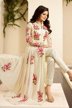 Asian Fashion, Indian Clothing, Pakistani Dresses at Memsaab Indian Suits, Indian Attire, Indian Dresses, Indian Wear, Kaftan, Anarkali Dress, Long Anarkali, White Anarkali, Lehenga Gown