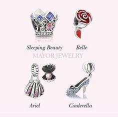 Authentic Chamilia Disney Set of 4 Disney Princesses Charms Beads 2020-0707 sooo want arial shell