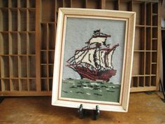 Vintage Nautical Needlepoint Ship Framed Needlepoint Pirate Ship Tall Ship