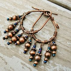 Shaggy Hoops - Antiqued Copper Wire Wrapped Hoops with Iris Blue Seed Bead dangles