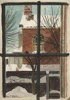 "Twentieth Century British Art by Vera Spencer: ""View through a Window- Winter, c. Window View, Open Window, Window Art, Snow Scenes, Winter Scenes, Winter Illustration, Illustration Art, Art For Art Sake, Piet Mondrian"