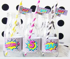 There's no better way to add charm to your boring beverages than our Girl Superhero Straw Tags & Paper Straws Set. You will receive 24 handcut, self adhesive paper flags & 24 sturdy, vibrant paper str First Birthday Parties, Birthday Party Decorations, Party Themes, Party Favors, Girl Parties, Party Ideas, Birthday Stuff, 5th Birthday, Pop Art Party