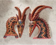 The Design Toscano East of the Serengeti Wall Sculpture - Set of 2 showcases artistic antelopes with contemporary geometrics. Each antelope wall sculpture.