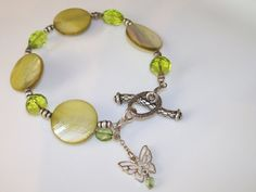 BUTTERFLY CHARM BRACELET with Green Shell by NonisEclecticShop, $13.99