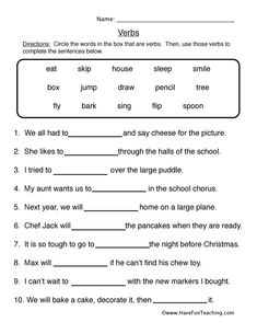 Verb Worksheet 1 - Fill in the Blanks: complete the sentences with the verbs. Information: Verb Worksheet, Verbs Worksheet, Parts of Speech Worksheet, Action Words Worksheet activities, Verb Worksheet 1 - Fill in the Blanks Nouns And Verbs Worksheets, Parts Of Speech Worksheets, Adjective Worksheet, First Grade Worksheets, English Worksheets For Kids, Kindergarten Worksheets, Printable Worksheets, Free Printable, English Grammar
