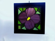 Mosaic Stained Glass Purple Flower Framed GOG by JBsGlassHouse