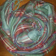 Plaid Scarf! Tassels on the end. Colors are light blue, hints of dark blue, red and white. Accessories Scarves & Wraps