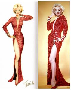"""Marilyn Monroe en """"Los caballeros las prefieren rubias"""" (1953). Vestuario: William Travilla"""