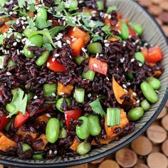 Forbidden Rice Salad - black rice, sweet potato, red bell pepper, green onions, edamame