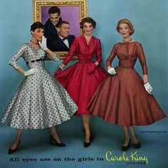 Stylish Carole King dresses, 1957. #vintage #1950s #fashion