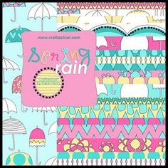 Freebie: Spring Rain kit with cute umbrellas for Project Life by Craftastical