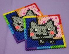 Nyan Cat coaster set perler beads by Dragonistic