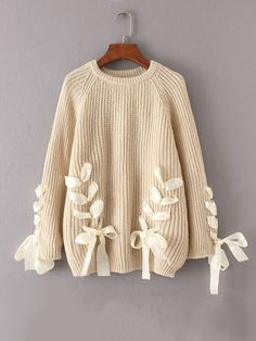 #fall for $31 Lace Up Bow Tie Raglan Sleeve Sweater