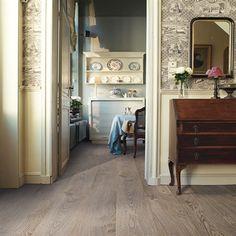 Like this floor color.   Quickstep Elite Old Light Grey Oak UE1406 Laminate Flooring