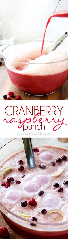 "~Easy family friendly, sweet and tangy Cranberry Raspberry Punch is perfect for the holidays and is ready in minutes! AND over 25 ""pink"" recipe for breast cancer awareness Party Drinks, Fun Drinks, Yummy Drinks, Yummy Food, Beverages, Tea Party, 12 Grapes, Raspberry Punch, Smoothie Drinks"