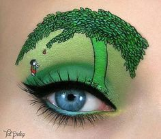 Shel Silverstein The Giving Tree costume makeup, green eyeshadow