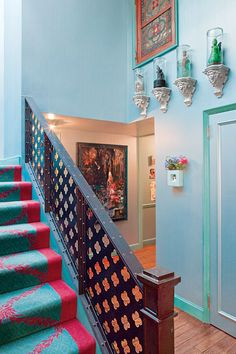 Love this runner and bannister!  The Great Room - Meghan Boody's Tripped-Out Tribeca Wonderland -- New York Magazine