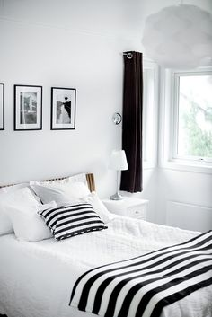 Clean with black and white in the bedroom