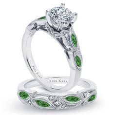 Kirk Kara 18K White Gold Dahlia Engagement Ring With 0.30 Carat Green Tsavorite Garnets and 0.04 Carat Diamonds. Style K155TDR