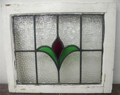 Old English Stained Glass Window Simple Tulip Design | eBay