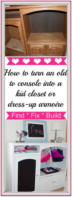 DIY - How to turn an old t.v. console into a kid closet, baby closet or dress-up armoire.