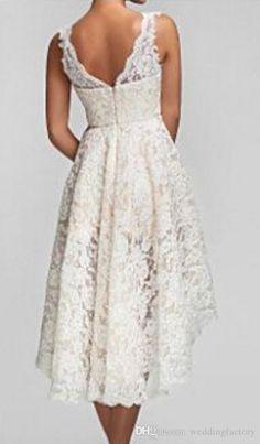 2016 Plus Size High Low Wedding Dresses Vintage Lace V Neck Back Garden Bridal Gowns Custom Made Short Beach