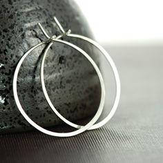 Sterling Silver Hoop Earrings 1 Inch Hoop Earrings by aubepine