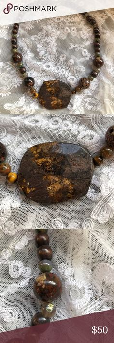 Large pendant Jasper, jade, tigers eye, wood beads Large pendant Jasper, jade, tigers eye, wood beads. Custom made in excellent condition 💜 handcrafted Jewelry Necklaces