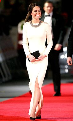 Dec. 5, 2013. The Duchess of Cambridge recycled a cream-colored, long-sleeved Roland Mouret gown to attend the Royal Film Performance premiere of Mandela:...