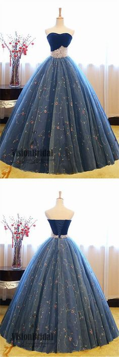 2018 Newest Sweetheart Lace Up Ball Gown With Pearl Charming Sleeveless Prom Dress VB0400 #promdress #promdresses #longpromdresses #ballgown