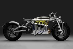 Curtiss isn't laying down in its effort to remake itself as an electric motorcycle manufacturer. The Zeus electric motorcycle was showcased just a year ago,. Grom Motorcycle, Motorcycle Engine, Motorcycle Design, Motorcycle Companies, Motorcycle Manufacturers, Custom Motorcycles, Custom Bikes, Bobber Custom, Zeus Custom
