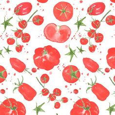 Watercolour tomatoes pattern design by Giorgia Bressan - Italian food pattern