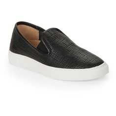 Vince Camuto Becker Slip-On Sneakers ($98) ❤ liked on Polyvore featuring shoes, sneakers, black, black slip on shoes, leather shoes, leather slip on sneakers, black shoes and vince camuto shoes