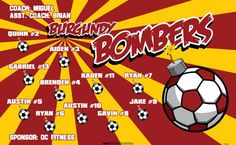 Bombers-Burgundy-151949 digitally printed vinyl soccer sports team banner. Made in the USA and shipped fast by BannersUSA. www.bannersusa.com