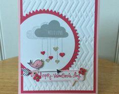 Stampin Up handgemachte Liebe oder Valentinstag-Karte - Vogel mit Herzen regnen