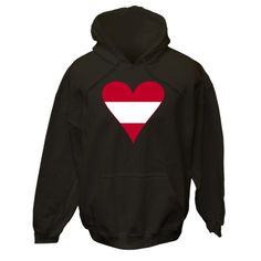 Great fun anytime you want to share your pride in your ethnic Austrian ancestry, heritage and culture. Design features a funky  looking heart-shaped Flag of Austria, or Austrian flag, with a red border. Terrific for Valentine's Day, or anytime you want to show some love to your Austrian American, Austrian Canadian, or just plain Austrian friends and family. $75.99 ink.flagnation.com Looks great on this black hoodie. Design by @Auntie Shoe.