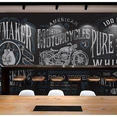 Garage Interior, Cafe Interior, Bar Retro, Motorcycle Wallpaper, Café Bar, Motorcycle Garage, Mural Wall Art, Blackboards, Exotic Art
