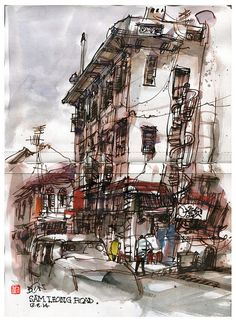 Don Low Illustration Sketches, Illustrations And Posters, Art Sketches, Street Pictures, Building Sketch, Architecture People, Sketches Of People, Urban Sketchers, Watercolor Sketch