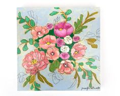 Modern floral bouquet painting wall art  A by jenniferallevato