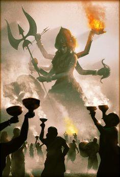 Navratri Puja will help you overcome all your negativities. Flourish with wealth on this Navratri by offering Homam to Lakshmi, Saraswathi & Durga. Indian Goddess Kali, Goddess Art, Durga Goddess, Indian Gods, Durga Painting, Lord Shiva Painting, Shiva Art, Hindu Art, Shiva Shakti