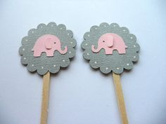 Grey and Pink Elephant Cupcake Toppers by sunshowerstuff, $4.75