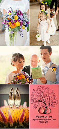 Love the more wild, unstructured look of the bouquet (top left), rather than the perfect looking ones