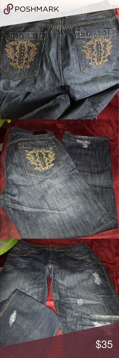 """Men's XY Black/Grey Jeans Sz 38 Men's Black Grey Faded """"XY"""" Jeans with Decorative pockets """"X-ray"""" Copper Stud details. Great Condition. Reasonable Offers Accepted! Jeans Bootcut"""