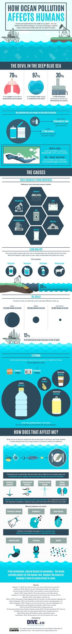 Check out this infographic from DIVE.in, an online scuba diving magazine, to learn how ocean pollution hurts humans too and not just marine life. Environmental Education, Environmental Issues, Ocean Pollution, Plastic Pollution, Pollution Environment, Water Pollution Poster, Save Our Oceans, Marine Conservation, Marine Biology