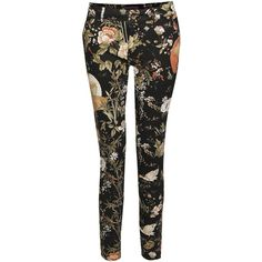 Amelie Botanical Bird Print Skinny Jeans - Polyvore