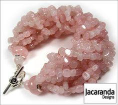 Multi Strand Rose Quartz Bracelet with Toggle Clasp Fastener