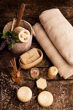 Spa Composition by Lumina – Stocksy United Composition of various objects used for spa treatments. Spa Composition by Lumina – Stocksy United Massage Spa, Massage Place, Massage Room, The Cream, Spa Room Decor, Spa Interior, Rest And Relaxation, Relaxation Spa, Spa Day At Home
