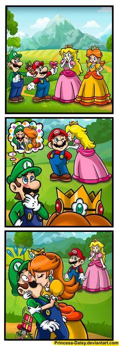 Valentine - Double date by Princesa-Daisy on DeviantArt Mundo Super Mario, Super Mario And Luigi, Super Mario Art, Super Mario Brothers, Super Mario Princess, Nintendo Princess, Instructions Lego, Princesa Daisy, Mario Funny